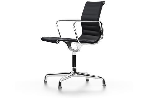 Vitra Aluminium Chair EA 103 Onderstel verchroomd, Premium Leder